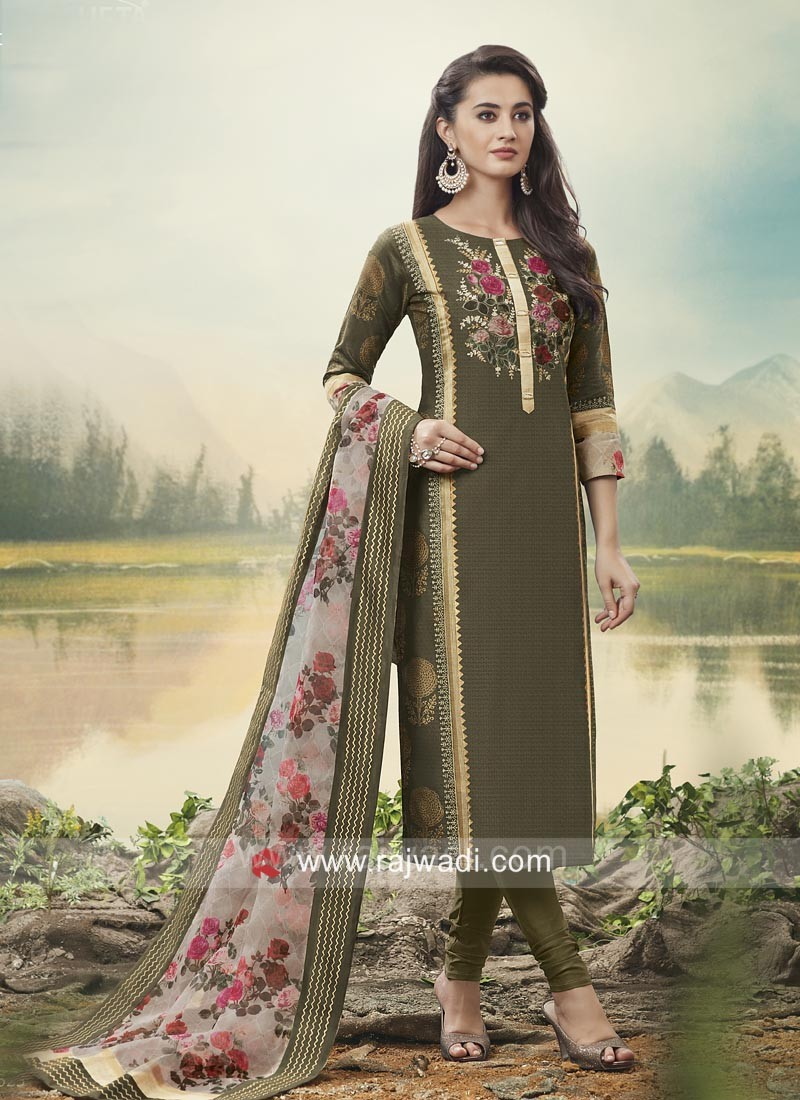 Cotton Silk Straight Salwar Kameez