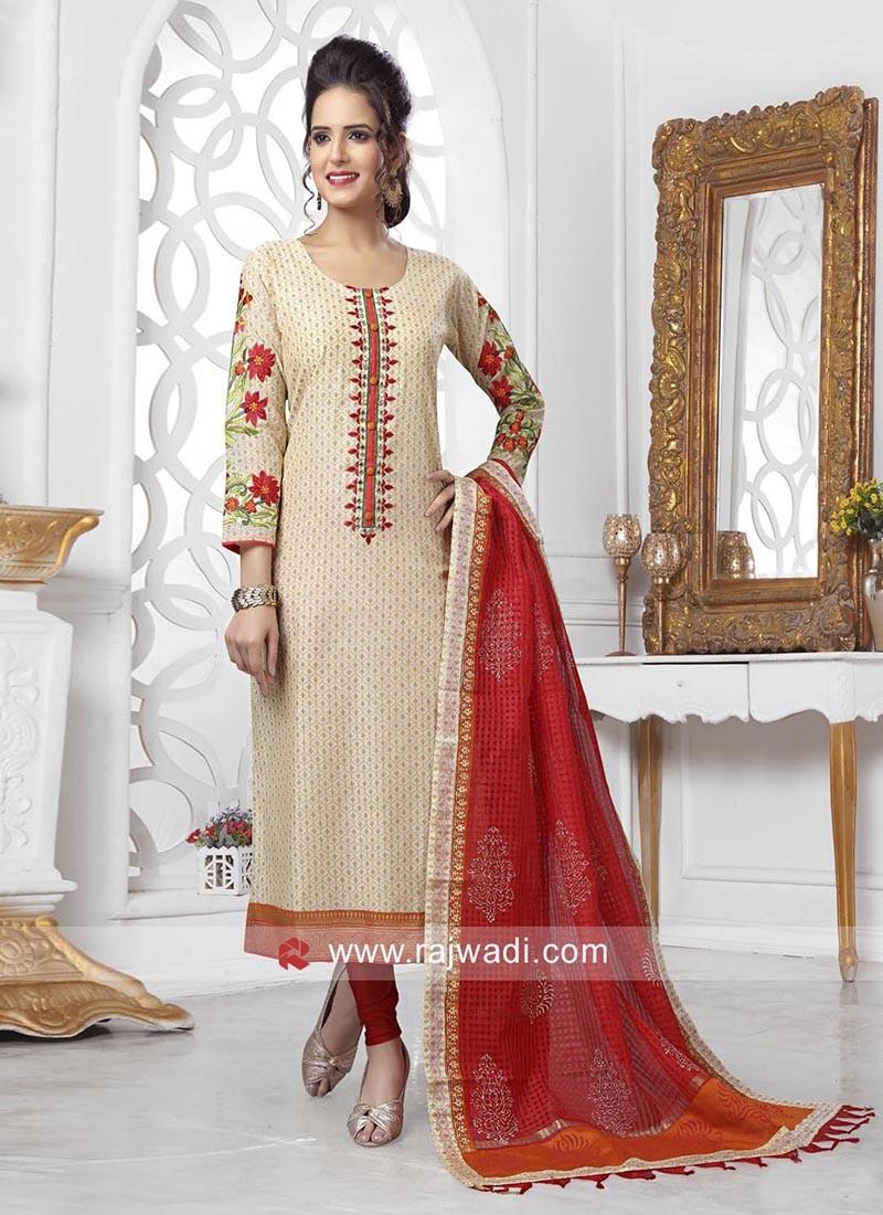 Cotton Silk Straight Salwar Suit