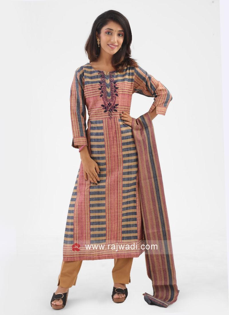 Cotton Silk Stripe Style Salwar Suit