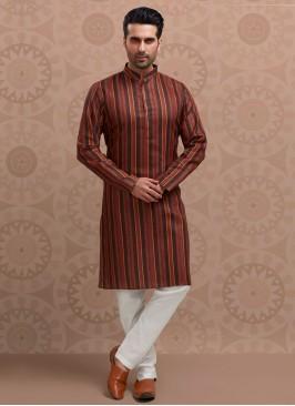 Cotton Silk Striped Kurta Pajama