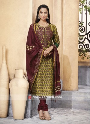 Shagufta Cotton Silk Salwar Suit with Fancy Buttons