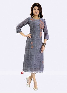 Cotton Silk Thread Work Checks Kurti