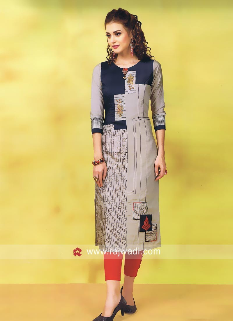 Cotton Silk Thread Work Kurti