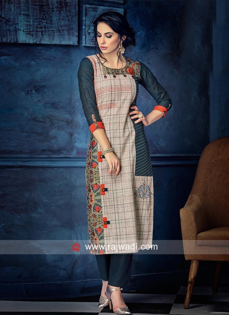 Cotton Silk Thread Work Kurti