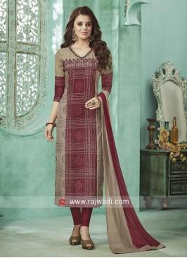Cotton Silk Thread Work Salwar Suit