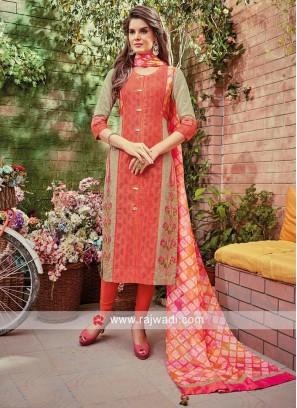 Cotton Silk Three Quarter Sleeves Salwar Kameez