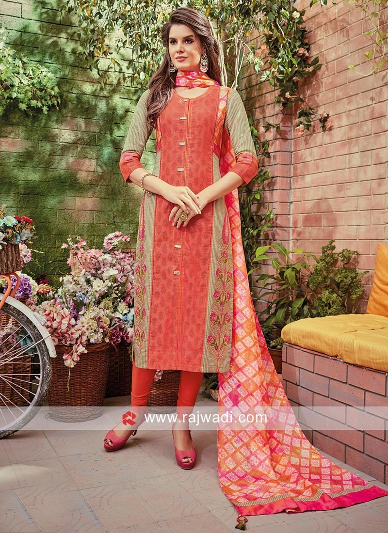 Cotton Silk Three Quarter Sleeves Salwar Kameez