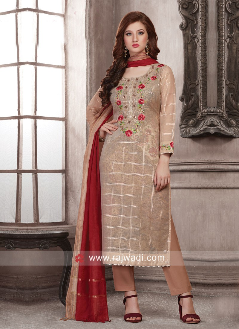 Dressline Cotton Silk Trouser Suit with Dupatta