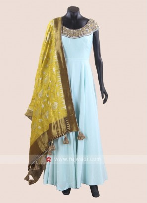 Cotton Silk Wedding Anarkali Suit in Sky Blue