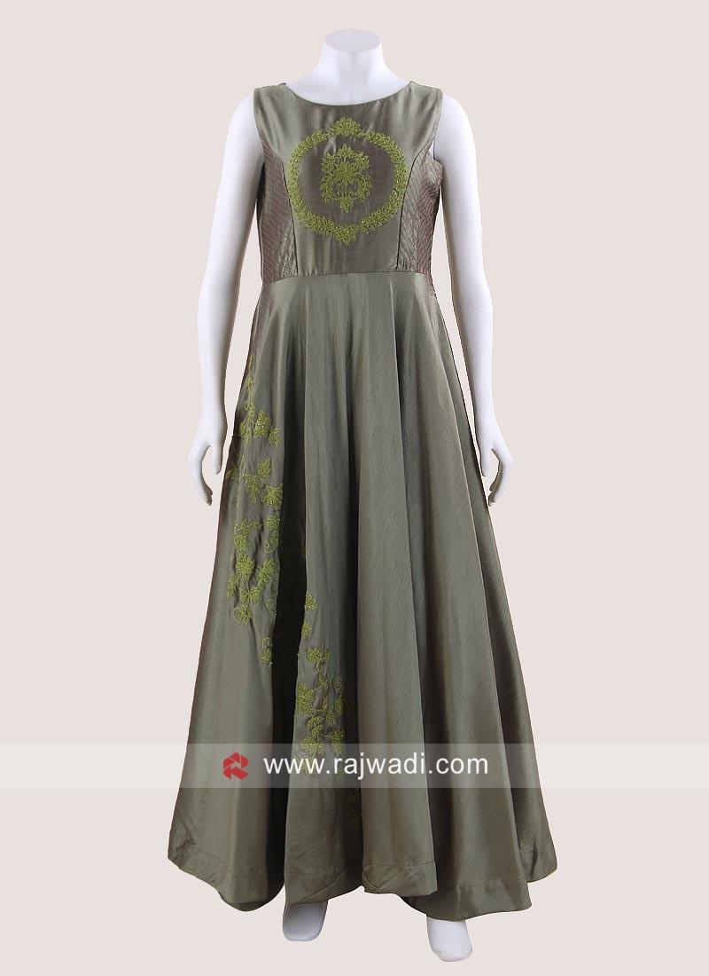Cotton Silk Wedding Floor Length Gown