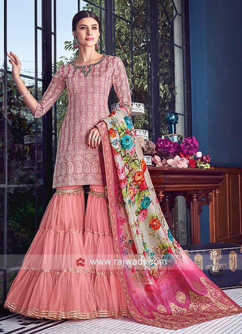 Cotton Silk Wedding Gharara Suit