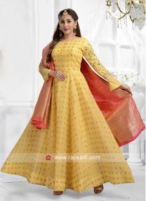 Cotton Silk Yellow Anarkali Suit