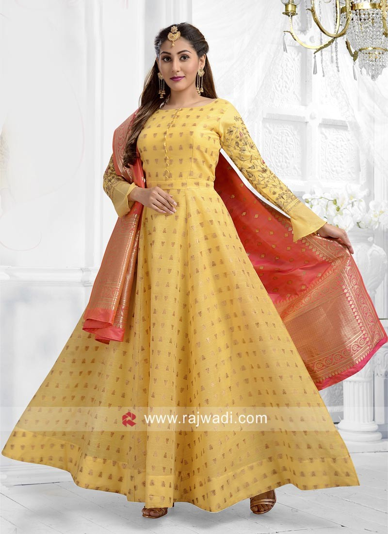 fc0f8f2492 Cotton Silk Yellow Anarkali Suit. Hover to zoom