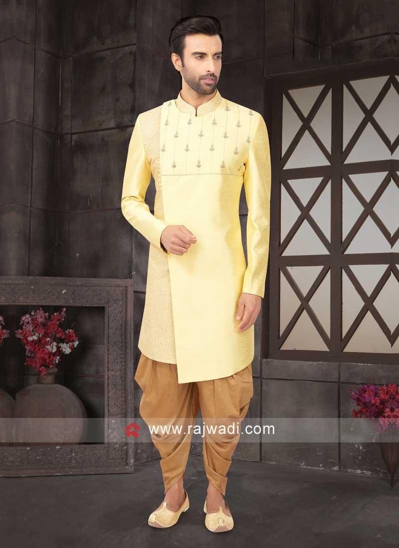 Raw Silk Yellow Indo-Western