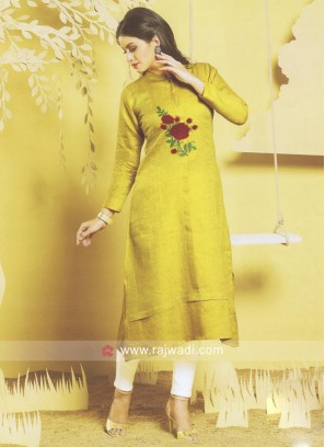 Cotton Silk Yellow Kurti