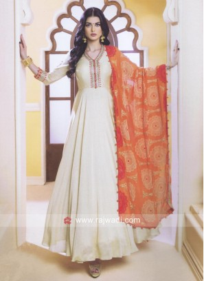 Cotton Silk Zari Work Anarkali Suit