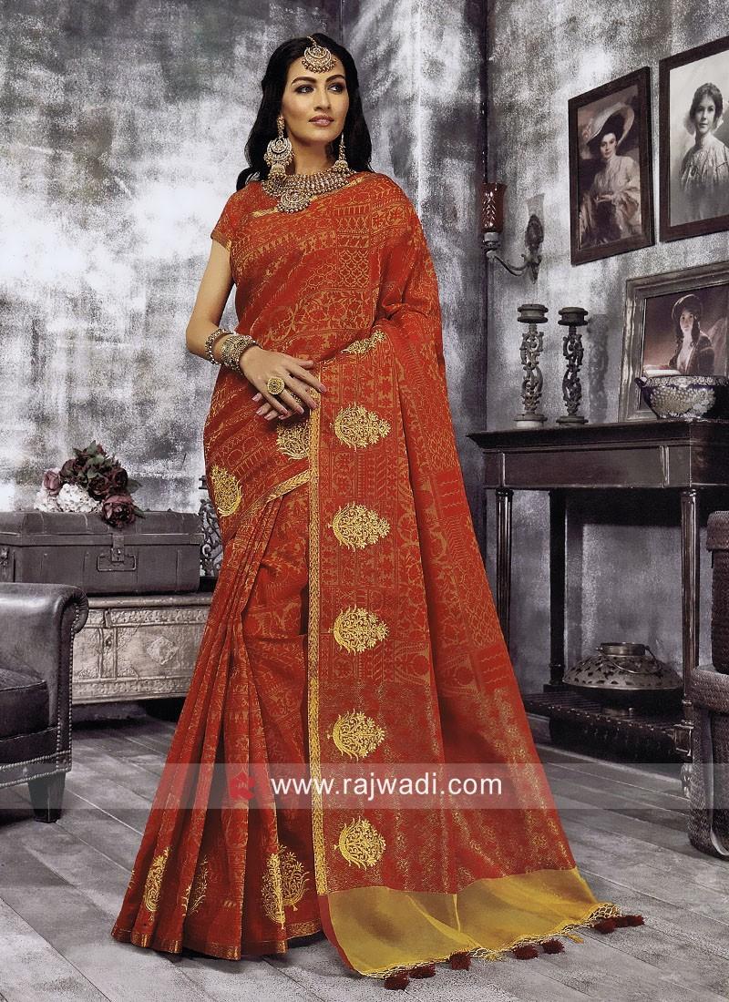 Cotton Silk Zari Work Saree
