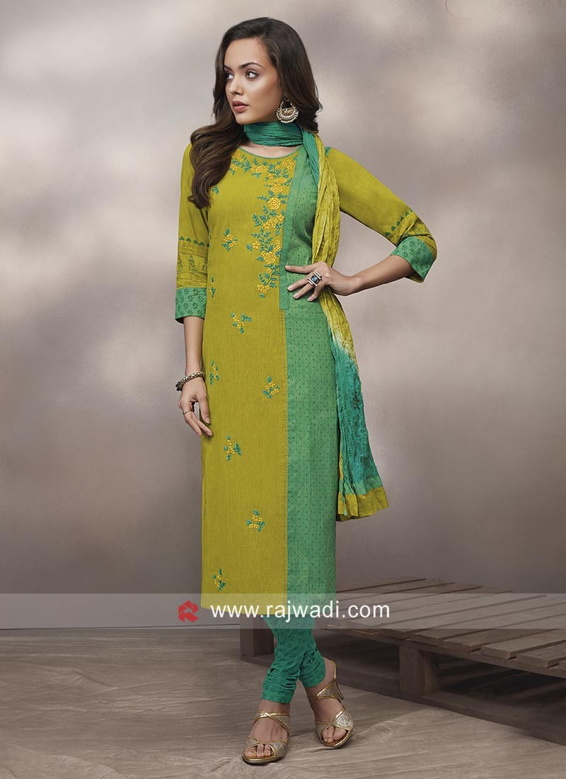 Cotton Straight Suit with Dupatta