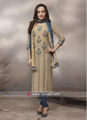 Cotton Straight Suit with Resham Print