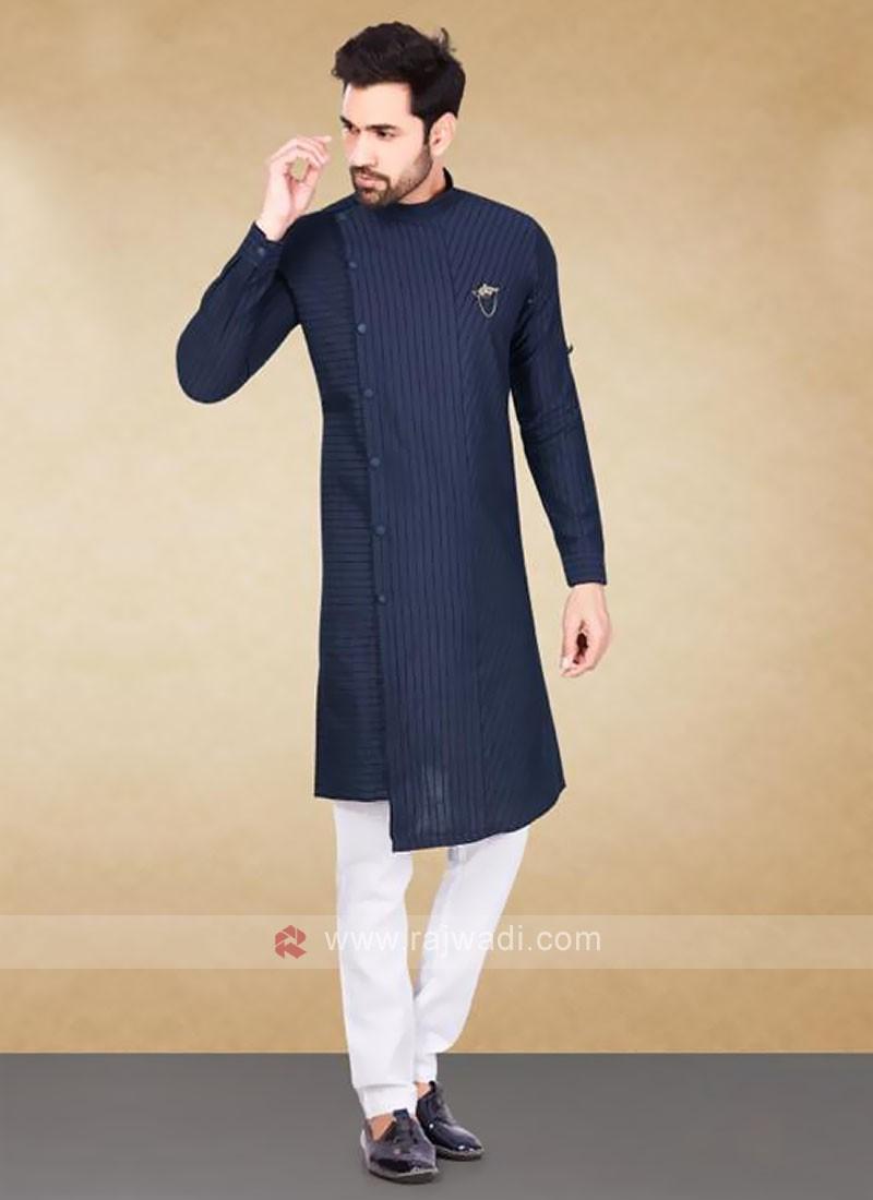 Cotton Striped Navy Blue Kurta