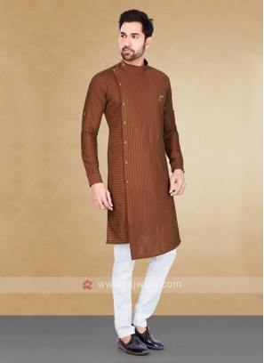 Cotton Striped Brown Kurta