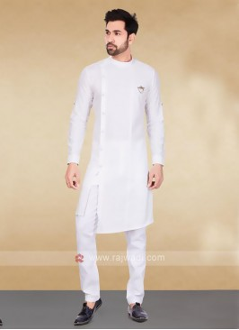 Cotton Striped White Kurta