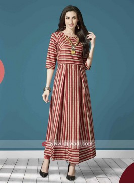 Cotton Stripes Long Kurti