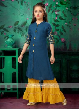 Cotton teal and yellow garara set