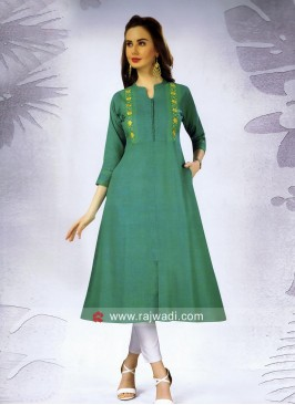 Cotton Thread Work Kurti with Pocket