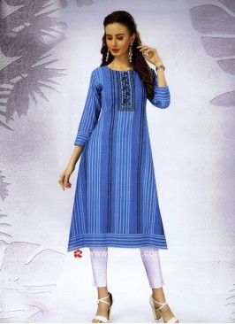 Cotton Three Quarter Sleeves Stripes Kurti