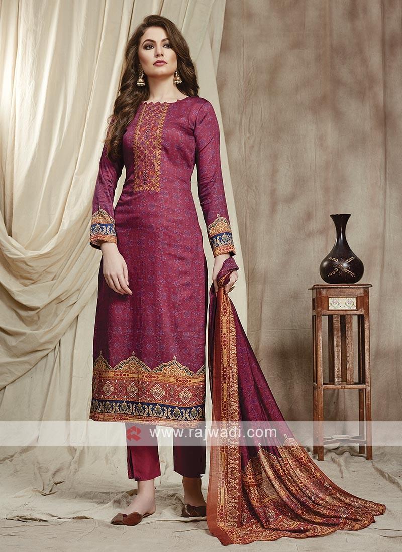 Cotton Trouser Suit In Rani Color