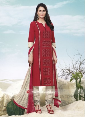 Cotton Trouser Suit in Red