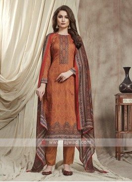 Cotton Trouser Suit In Dark Orange color