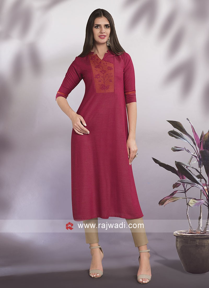 Cotton V-Neck Kurti