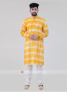 Cotton Yellow Kurta Pajama.