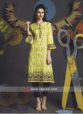 Cotton Yellow Kurti