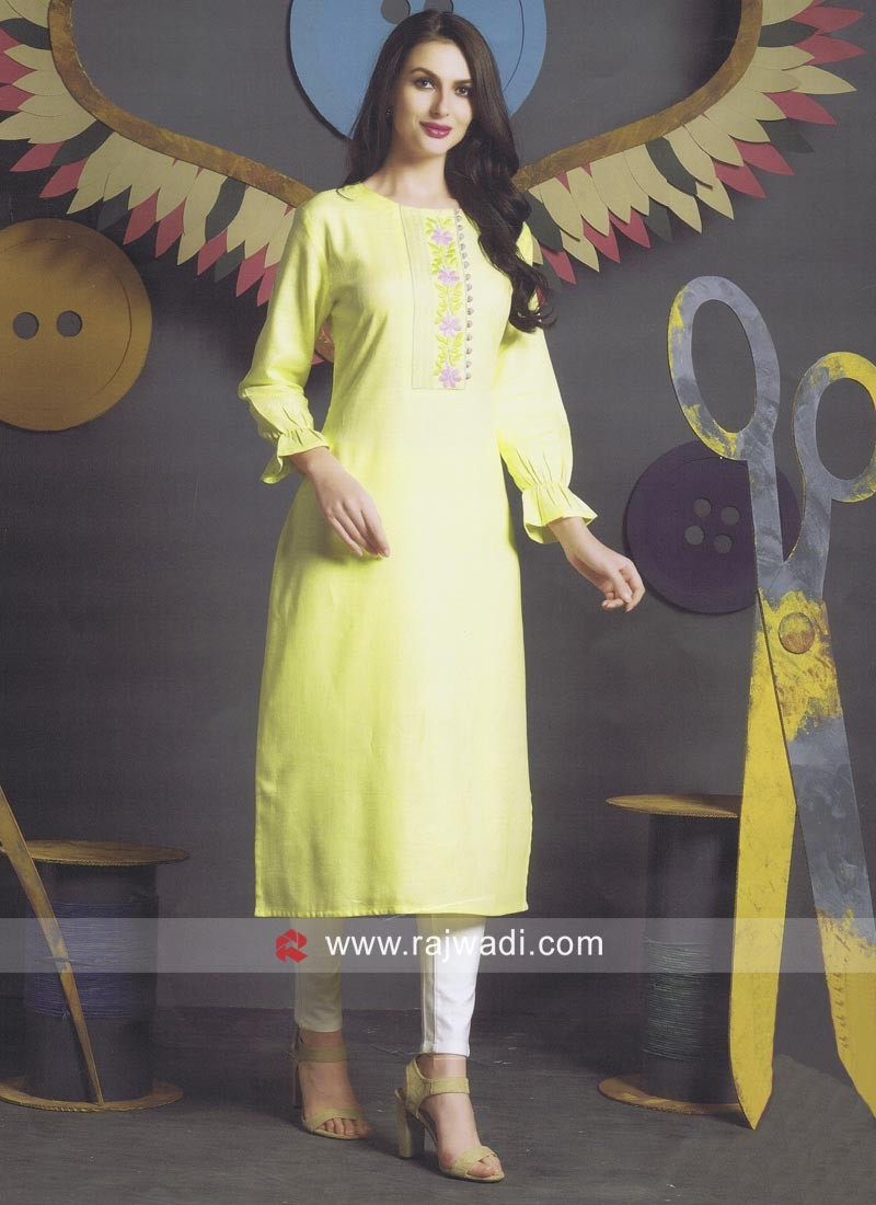 Cotton Yellow Kurti with Sleeves