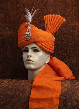 Cotton Zari Orange Turban