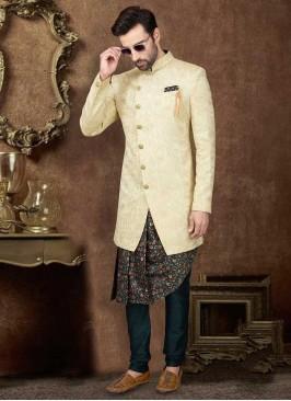 Cowl Style Indo-Western In Cream Color