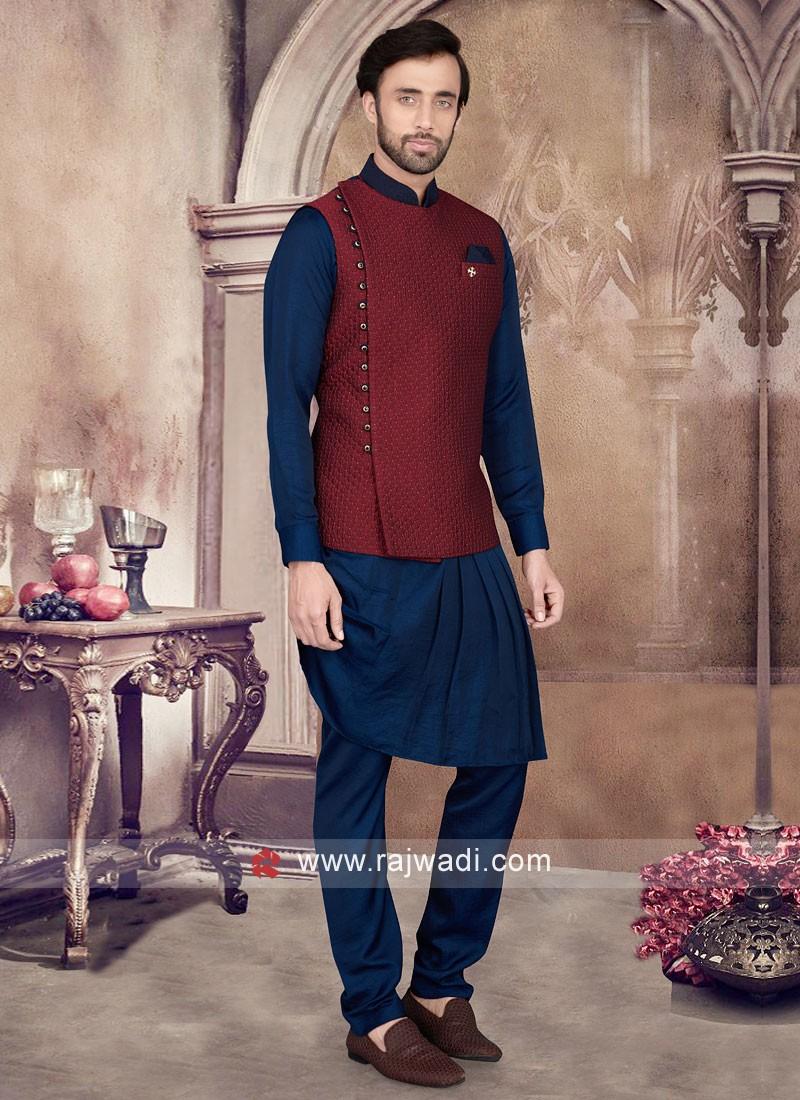Cowl Style Nehru Jacket Set