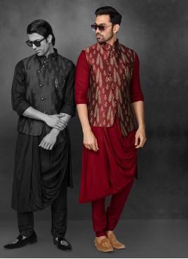 Cowl Style Printed Nehru Jacket Suit