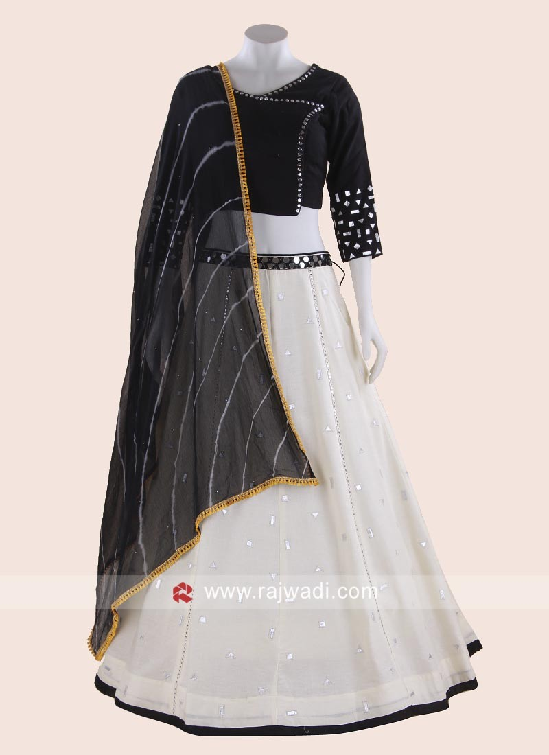 Cream and Black Navratri Cotton Chaniya Choli