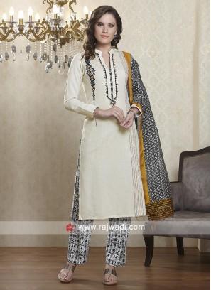 Cream and black salwar suit
