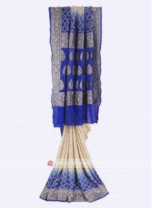 Cream and blue chiffon saree