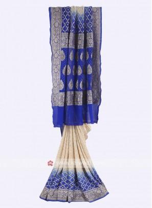 Cream and blue chiffon saree