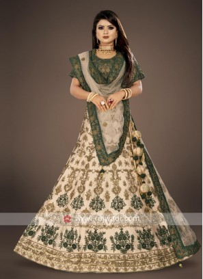 cream and bottle green ehenga choli suit