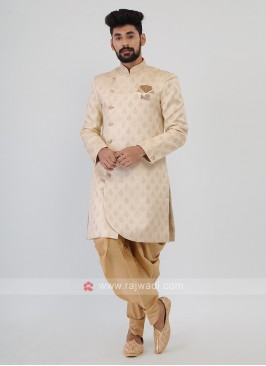 Cream And Golden Mens Indo-Western