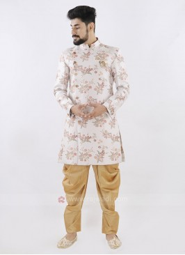 Cream And Golden Patiala Suit