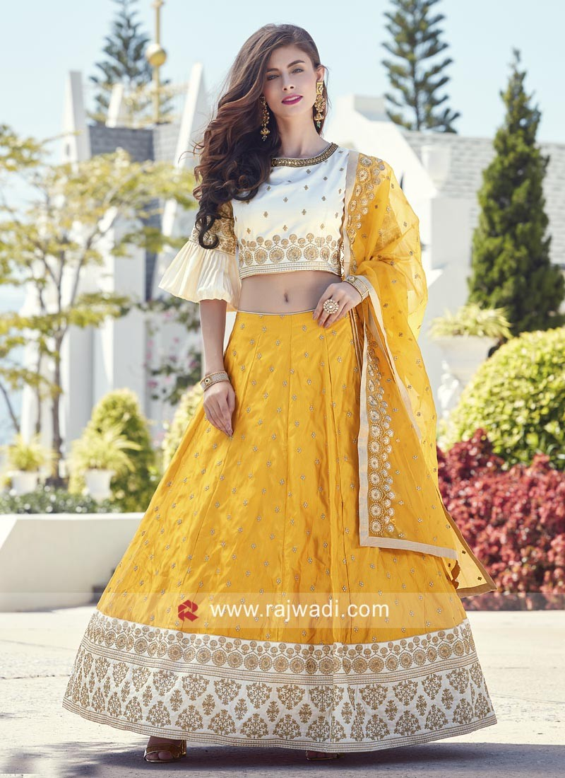 Cream and Golden Yellow Choli Suit