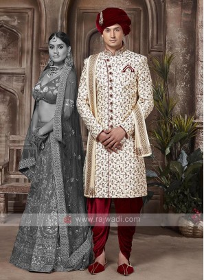Cream And Maroon Colour Sherwani